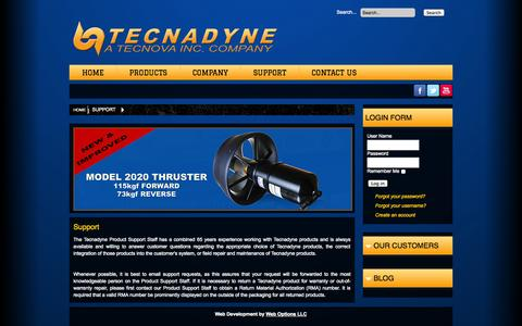 Screenshot of Support Page tecnadyne.com - Tecnadyne Support: We value our customers, call us anytime to support your equipment - captured Oct. 26, 2014