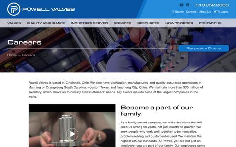 Screenshot of Jobs Page powellvalves.com - Careers | Powell Valves - captured Sept. 25, 2018