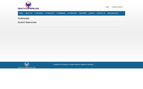 Screenshot of Testimonials Page skycirrus.com - Testimonials - captured Feb. 4, 2016