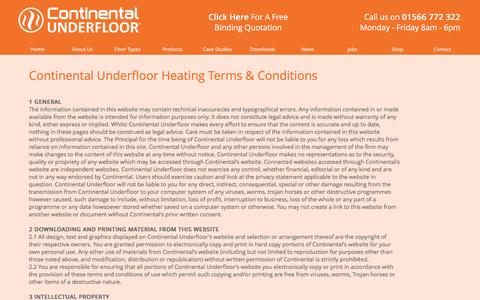 Screenshot of Terms Page ufh.co.uk - Continental Underfloor - Terms & Conditions - captured Jan. 31, 2016