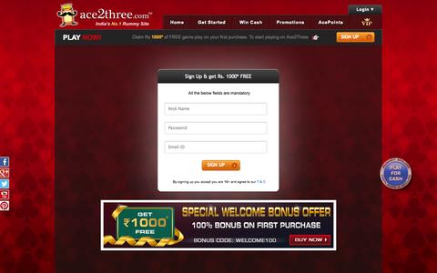 Screenshot of Signup Page ace2three.com - Ace2Three Registration, Create Account at Indian Rummy Site - captured Sept. 18, 2014