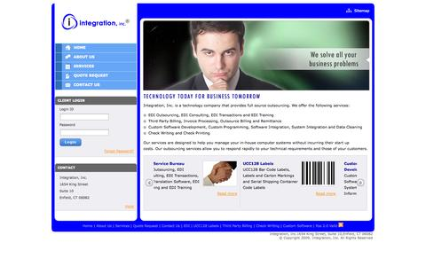 Screenshot of Home Page integrationinc.com - Custom Software Development Company, IT Outsourcing Solution, Third Party Billing, EDI Outsourcing, Check Writing & Printing Services, UCC128 Labels - captured Sept. 30, 2014