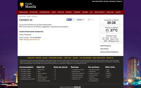 Screenshot of Contact Page guide-manila.com - Contact us | Manila Guide - captured Oct. 26, 2014
