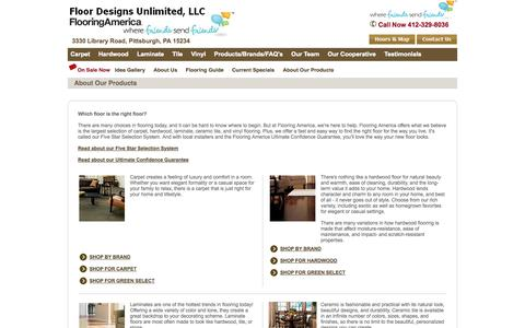 Screenshot of Products Page floordesignsflooringamerica.com - Our Flooring Products  | Floor Designs Unlimited Flooring America | Pittsburgh, PA - captured Oct. 6, 2014
