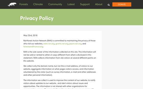 Screenshot of Privacy Page ran.org - Privacy Policy - Rainforest Action Network - captured Aug. 3, 2018