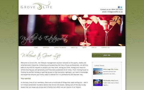 Screenshot of Home Page grovelife.co.uk - Grove Life – Lifestyle Management - captured Sept. 30, 2014