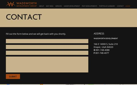 Screenshot of Contact Page wadsdev.com - Wadsworth | Contact - captured Oct. 27, 2014