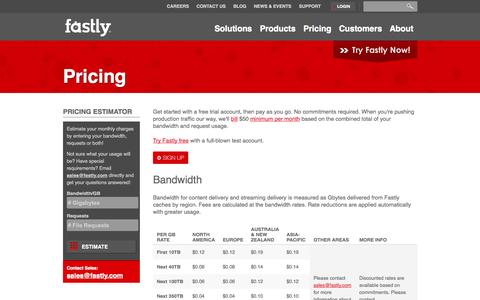 Screenshot of Pricing Page fastly.com - Pricing   Fastly - The Next Gen CDN - captured Oct. 10, 2014