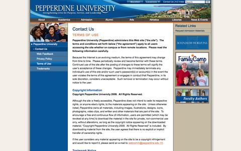 Screenshot of Terms Page pepperdine.edu - Contact Us | Pepperdine University - captured Sept. 19, 2014