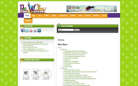 Screenshot of Site Map Page petsweekly.com - Sitemap - captured Nov. 6, 2014