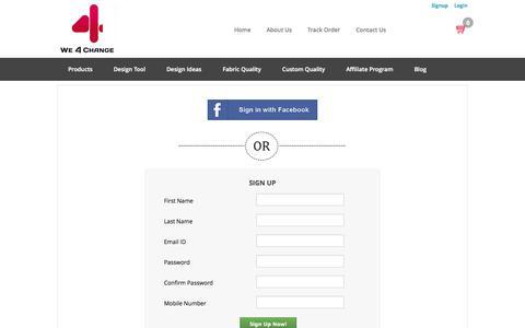 Screenshot of Signup Page v4c.in - We 4 Change - Home - captured Oct. 9, 2014