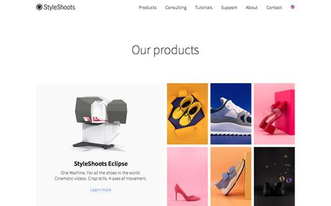 Screenshot of Products Page styleshoots.com - Products — StyleShoots - captured Sept. 24, 2018