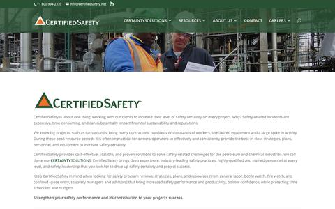 Screenshot of About Page certifiedsafety.net - About Us | CertifiedSafety - captured July 23, 2017