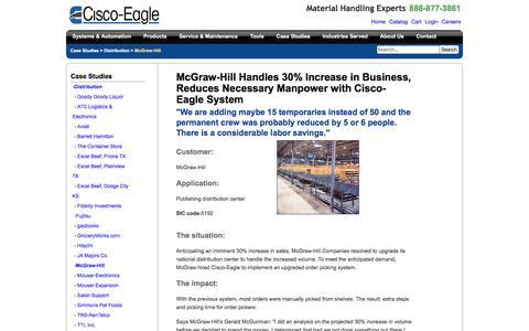 Screenshot of Case Studies Page cisco-eagle.com - McGraw-Hill Conveyor Distrubution System - captured Jan. 5, 2017