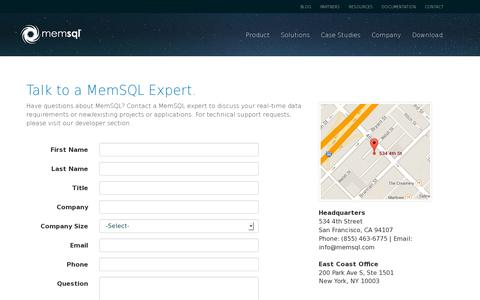 Screenshot of Contact Page memsql.com - Contact MemSQL - Fastest SQL Database, MemSQL - captured July 20, 2014