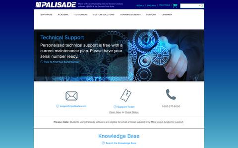 Screenshot of Support Page palisade.com - Technical Support - Palisade - captured Dec. 13, 2018