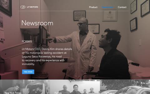 Screenshot of Press Page litmotors.com - Media Room - captured March 6, 2019