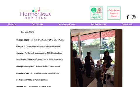 Screenshot of Locations Page harmonious-horizons.com - Family Music Classes | Harmonious Horizons | Locations - captured July 16, 2018