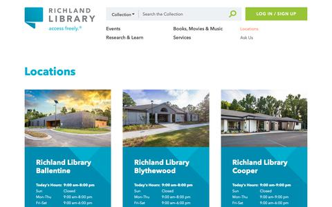 Screenshot of Locations Page richlandlibrary.com - Richland Library - captured Dec. 10, 2018