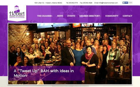 Screenshot of Home Page hobartchamber.com - Hobart Chamber of Commerce, Hobart Indiana - captured Jan. 30, 2016