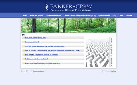 Screenshot of FAQ Page parkercprw.com - Parker CPRW - Professional Resume Presentations - FAQ - captured Sept. 27, 2014