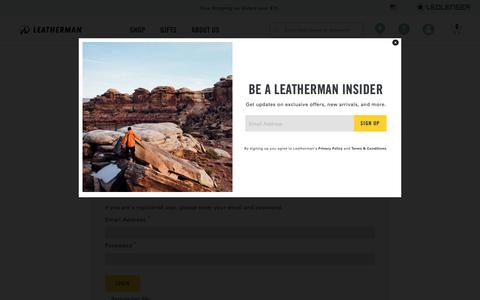 Screenshot of Login Page leatherman.com - Leatherman Login - captured Jan. 18, 2019