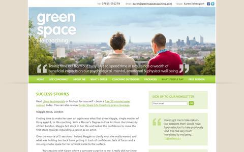Screenshot of Case Studies Page greenspacecoaching.com - Case studies « greenspace | life coaching - captured Oct. 3, 2014