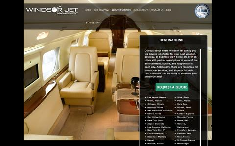 Screenshot of Locations Page windsorjet.com - Private Jet Charter & Rental: Cities & Locations | Windsor Jet - captured Oct. 7, 2014