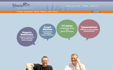 Screenshot of Home Page simourix.nl - Drupal websites, Magento webwinkels, ICT advies, Systeembeheer - Simourix Zwolle - captured Sept. 30, 2014