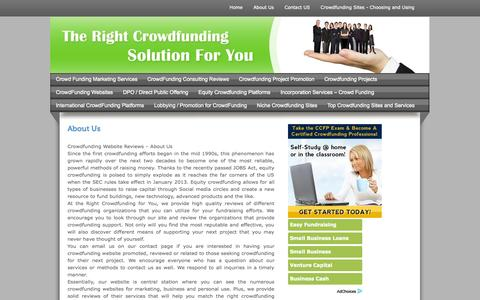Screenshot of About Page crowdfunding-website-reviews.com - About Crowdfunding Website Reviews - captured Oct. 30, 2014