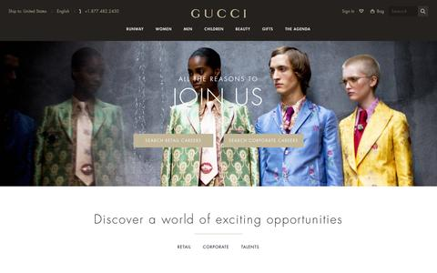 Screenshot of Jobs Page gucci.com - Gucci Official Site United States - captured April 13, 2016