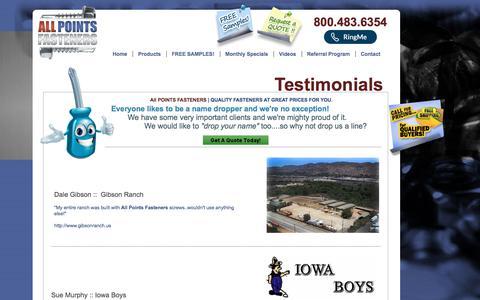 Screenshot of Testimonials Page allpointsfasteners.com - Testimonials | all Points Fasteners - captured July 29, 2018