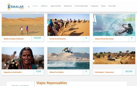 Screenshot of Home Page ismalar.com - Rutas, viajes y circuitos Responsables para viajeros conscientes. - captured Sept. 7, 2015