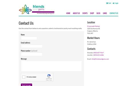 Screenshot of Contact Page friendsandgems.com - Friends & Gems - Contact Us - captured Aug. 4, 2016
