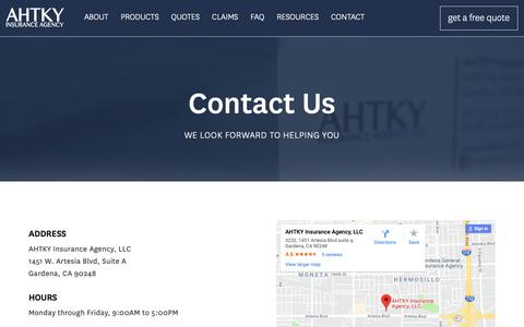 Screenshot of Contact Page ahtky.com - Contact   AHTKY Insurance Agency - captured Oct. 2, 2018