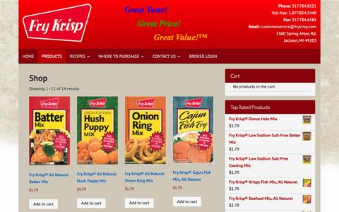 Screenshot of Products Page frykrisp.com - Products Archive - Fry Krisp - captured Feb. 10, 2016