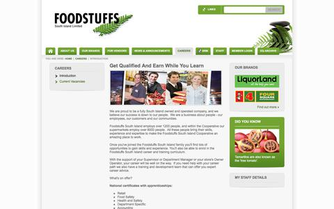 Screenshot of Jobs Page foodstuffs-si.co.nz - Careers At Foodstuffs South Island Introduction - captured Sept. 22, 2018