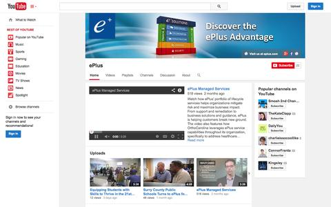 Screenshot of YouTube Page youtube.com - ePlus  - YouTube - captured Oct. 26, 2014
