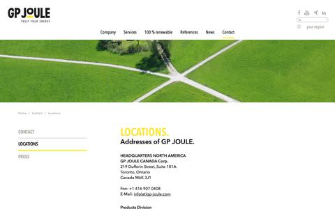 Screenshot of Locations Page gp-joule.com - Locations - captured Oct. 22, 2018