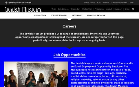 Screenshot of Jobs Page thejewishmuseum.org - The Jewish Museum - Careers - captured Sept. 19, 2014