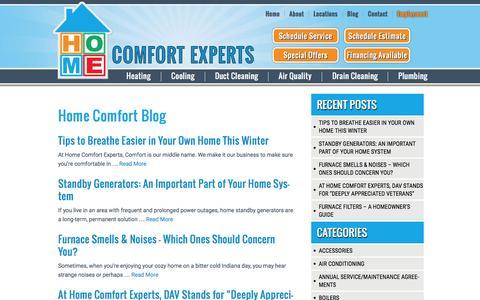 Screenshot of Blog homecomfortexpertsinc.com - Heating, Cooling and Plumbing Tips, Blog   Home Comfort Experts - captured Jan. 31, 2016