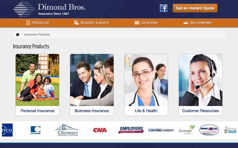 Screenshot of Products Page dimondbros.com - Insurance Products in Illinois - Dimond Bros. Insurance, LLC - captured Nov. 24, 2016