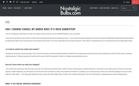 Screenshot of FAQ Page nostalgicbulbs.com - FAQ - Nostalgicbulbs.com - captured Oct. 22, 2017