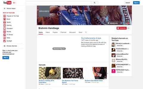 Screenshot of YouTube Page youtube.com - Brahmin Handbags  - YouTube - captured Oct. 31, 2014