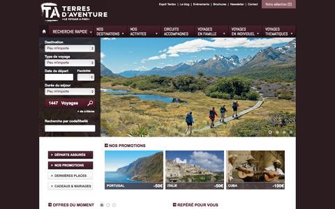 Screenshot of Home Page terdav.com - Randonnée, trek, voyage aventure, voyage à pied | Terres d'Aventure - captured Sept. 23, 2014