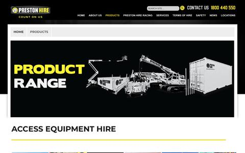 Screenshot of Products Page prestonhire.com.au - Access Equipment Hire In Australia | Preston Hire - captured June 13, 2018