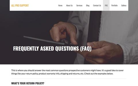 Screenshot of FAQ Page allprosupport.com - Frequently Asked Questions (FAQ) – All Pro Support - captured July 29, 2018