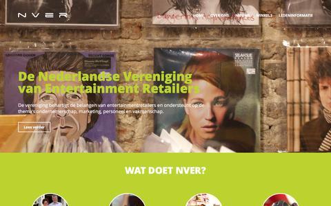 Screenshot of Home Page nver.info - NVER | De Nederlandse vereniging van Entertaiment Retailers. - captured Feb. 21, 2016