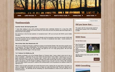 Screenshot of Testimonials Page niho.com - Testimonials - Welcome to NIHO Land & Cattle Co - captured Feb. 14, 2016