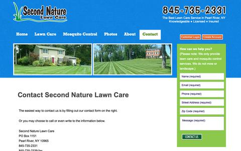 Screenshot of Contact Page secondnaturelawncare.com - Lawn service, tree and shrub care serving Rockland, Westchester, Orange NY and Bergen NJ - captured Oct. 18, 2018